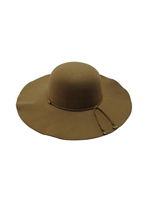 Laslusa İçten Ayarlanabilir Keçe Geniş Kenar Şapka Camel